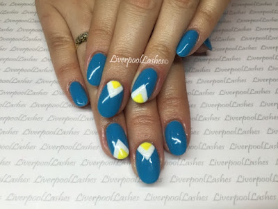 liverpoollashes karen nail tech shellac nails cerulean sea cream puff bicycle yellow cnd additive sizzling sands