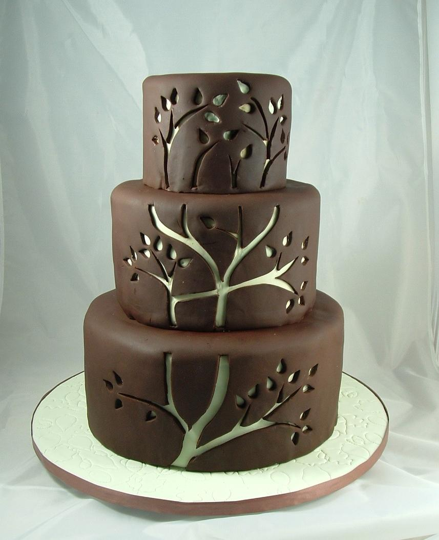 tree cutouts wedding cake
