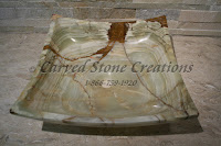 16x16xH6 Light  Green Onyx Cozumel Square Sink