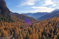 Passo di Falzarego (2105m), Südrampe. Blick zurück.
