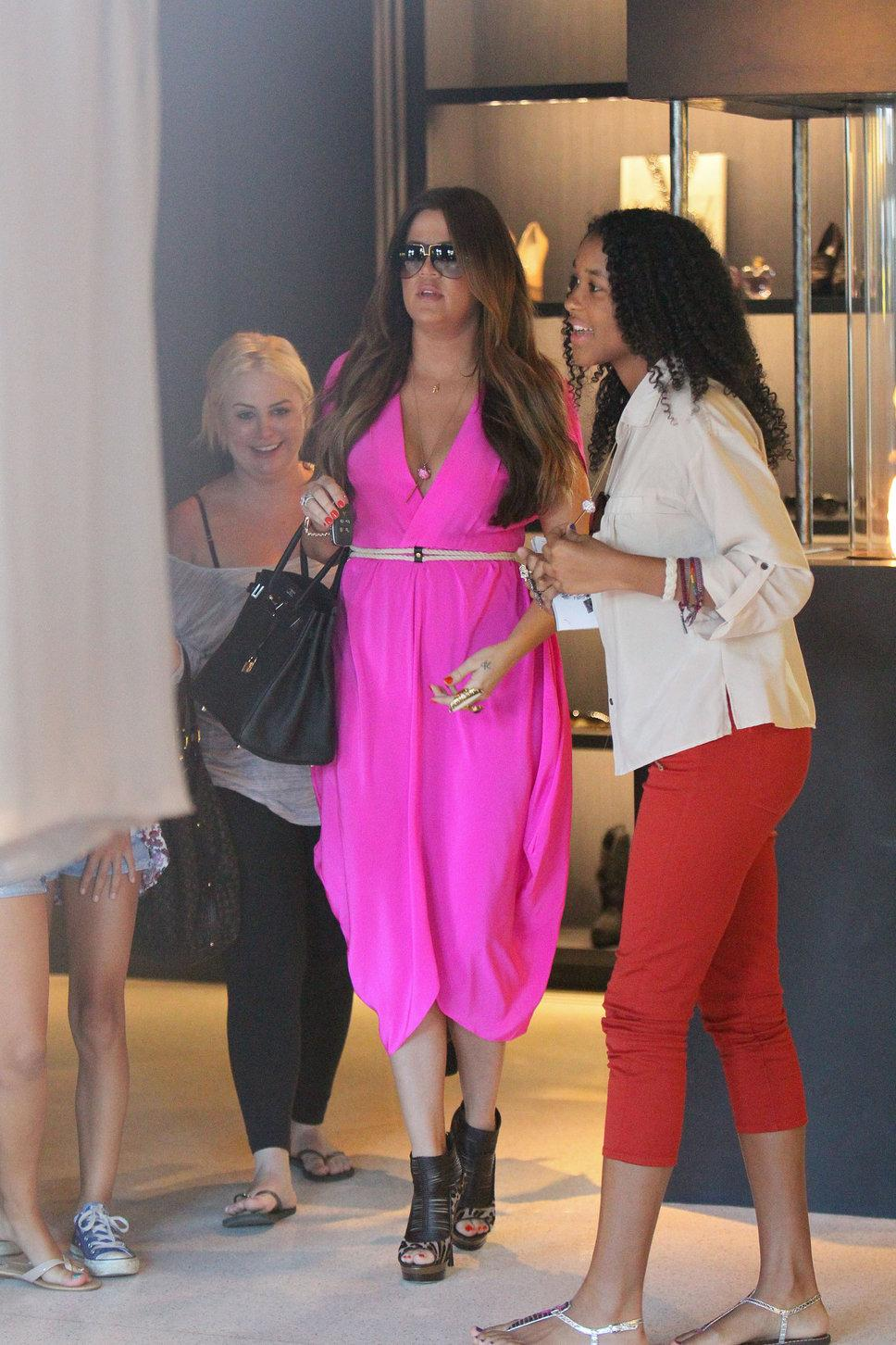 Khloe Kardashian hot pink maxi