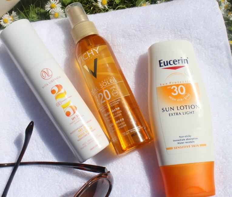 VitaLiberata-DryOil,VichySPF20-bodyoil-Eucerin-SPF30-SunLotion-ExtraLight.