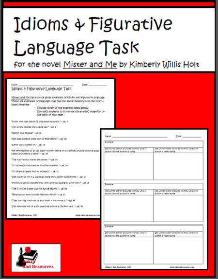 Free  download - mister and me figurative language and idiom task from Raki's Rad Resources.