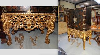 Кабинет в восточном стиле. 19-й век. Позолоченный резной столик. Деревянный расписной кабинет с бронзовым декором. Петли, замок. 7500 евро.