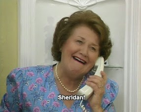 Hyacinth-Bucket-talking-to-Sheridan-on-her-white-slimline-with-automatic-redial