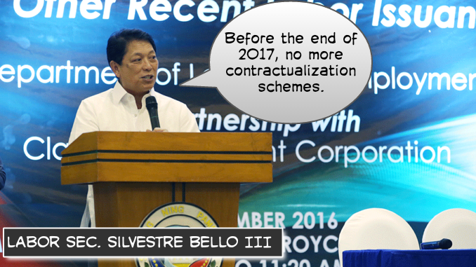Image of Contractualization in the Philippines, Labor Sec. Silvestre Bello III, Philippines government to achieve the