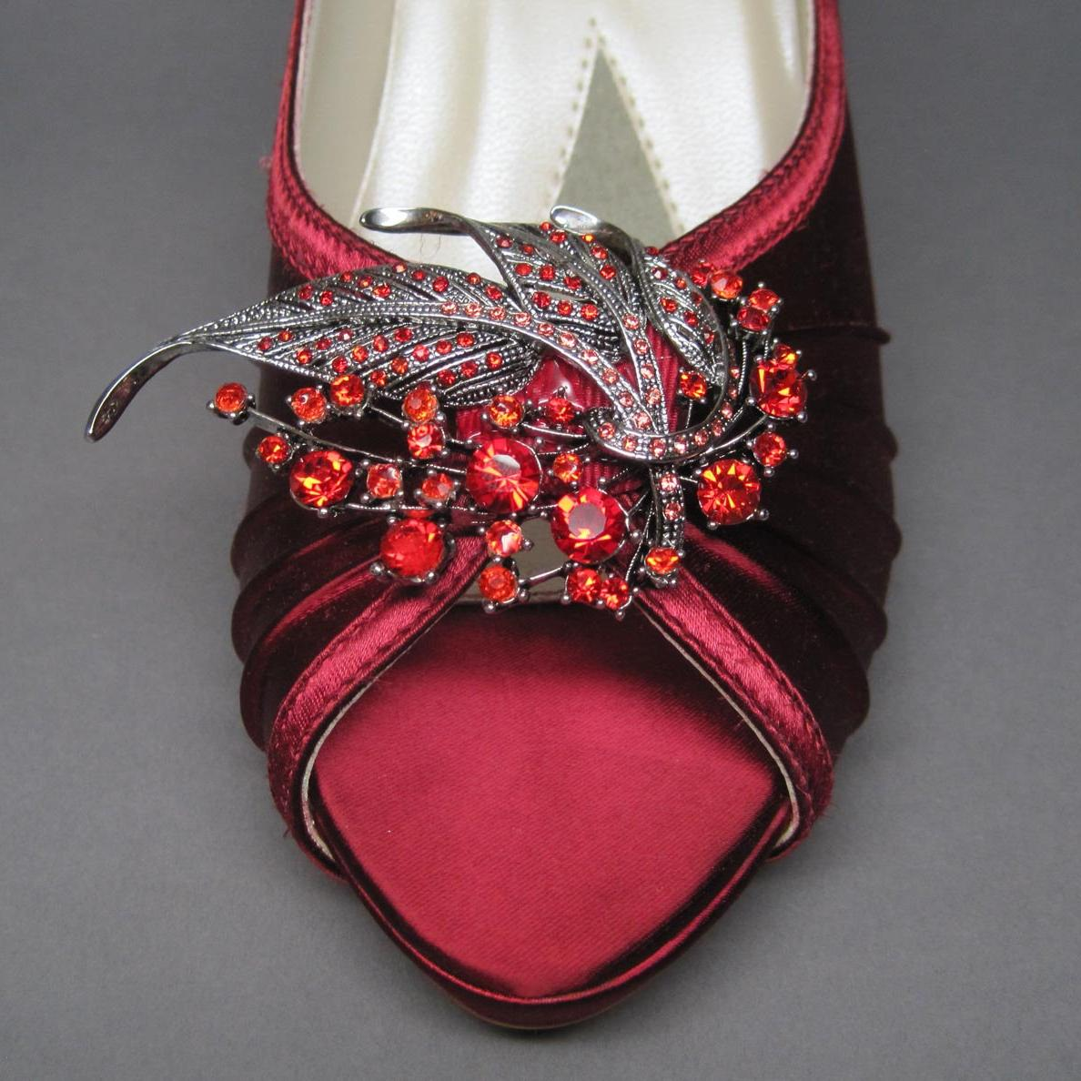 Scarlet Red Wedding Shoes -- Satin Peeptoes with Matching Red Rhinestone