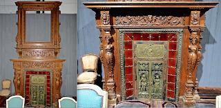 Большой портал для камина. 19-й век. Дерево, резьба, керамика, бронза.