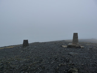 The summit of Skiddaw in the cloud.