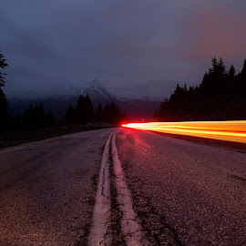Night in the mountain by NitZ Photography - Abstract Light Painting ( car, mountain, tree, long exposure, road )