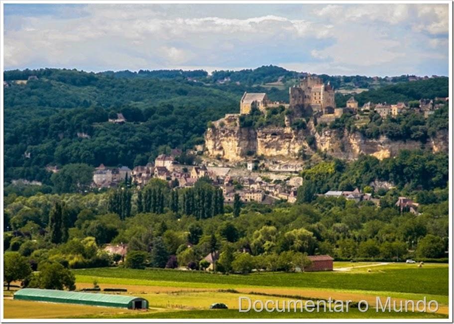 A vista sobre Beynac-et-Cazenac; Jardins suspensos de Marqueyssac