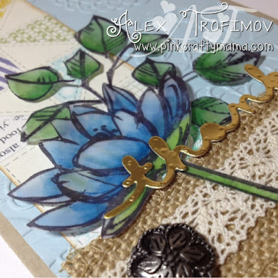 Stampin' Up! stampin up thank you card cards afternoon picnic dsp flowers stamping watercolor watercolour derwent inktense pencils greetings thinlits dies burlap ribbon lace gold foil