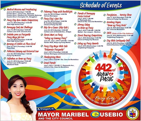 442nd Araw ng Pasig Schedule of Activities