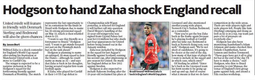 Screen+Shot+2014 02 16+at+00.18.50 Cant get a game at Man United... England set to call up Wilfried Zaha for Denmark friendly