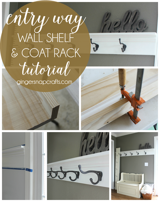 entry way wall shelf & coat rack tutorial at   GingerSnapCrafts.com