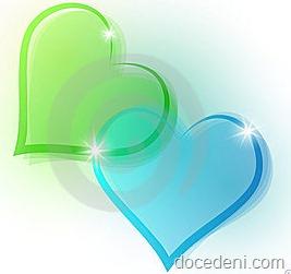 coração verde e azul