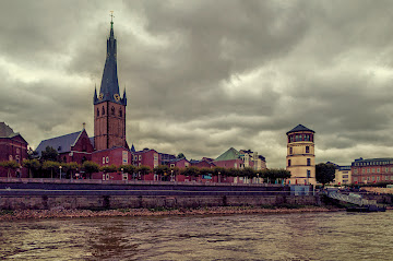 Dusseldorf Altstadt (Old town) view from the Rhein river Germany Canon EOS 400D