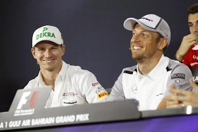 Нико Хюлькенберг и Дженсон Баттон на пресс-конференции в четверг на Гран-при Бахрейна 2014