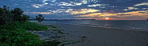 A beautiful panorama at sunset from near where we'll be living on Nosy Mitsio.