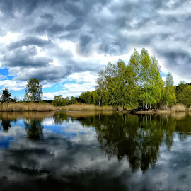 Lake by Francesco Palermo - Landscapes Cloud Formations ( water, sky, reflections, trees, lake )