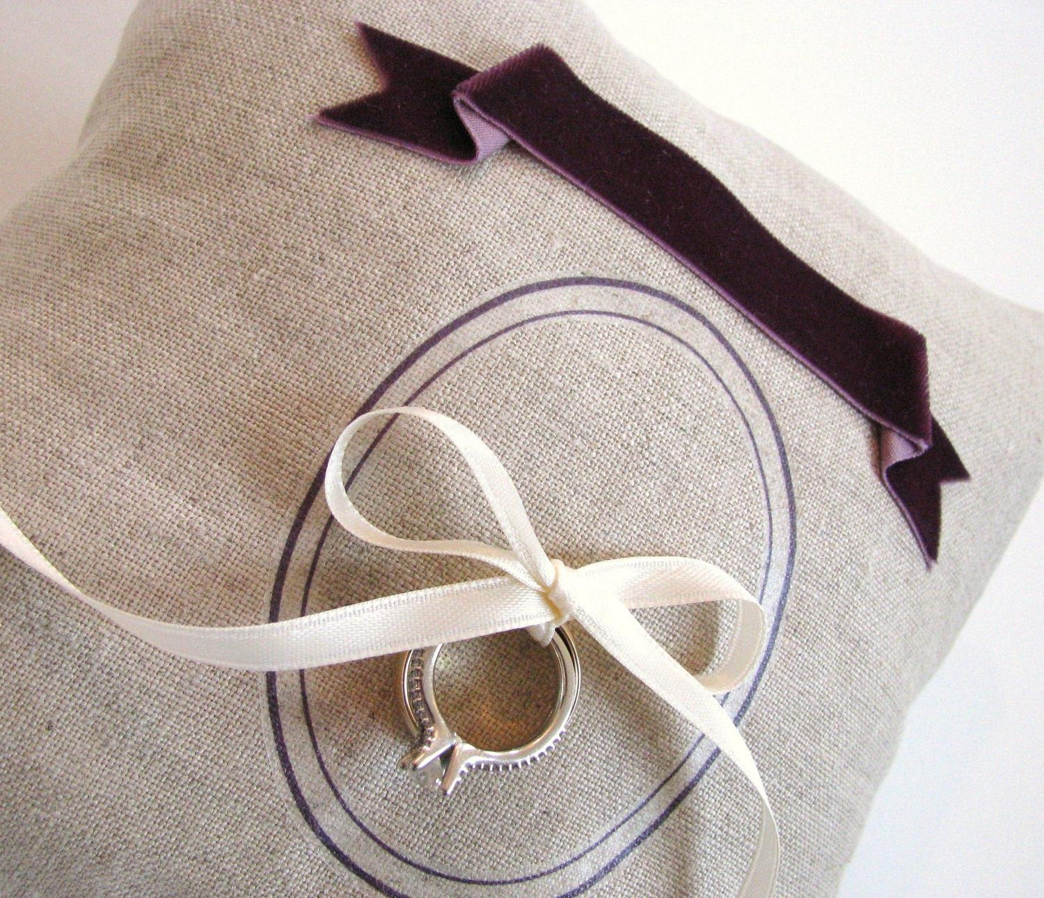 Linen Gray and Purple Wedding Ring Pillow