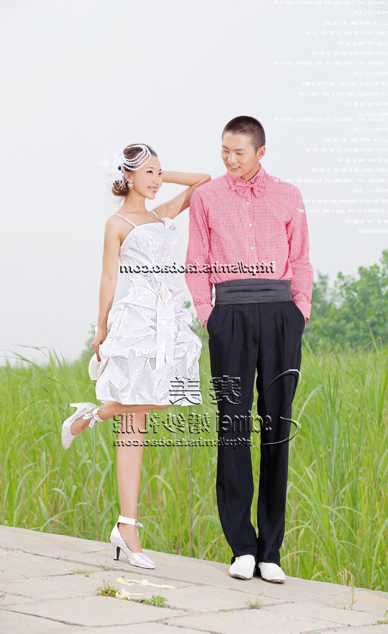 Tape embossed satin Wedding dresses   gowns short style suits small Wedding