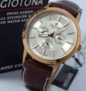 jam tangan Giotona GT6043 brown leather rosegold white