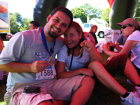 Celebrating victory! 22km in 3 hr. 16 min.... we limped the last few, but we made it and scored bronze medals!
