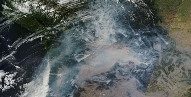 Terra MODIS satellite view of NW wildfires, 23 Aug 2015. Photo: NASA