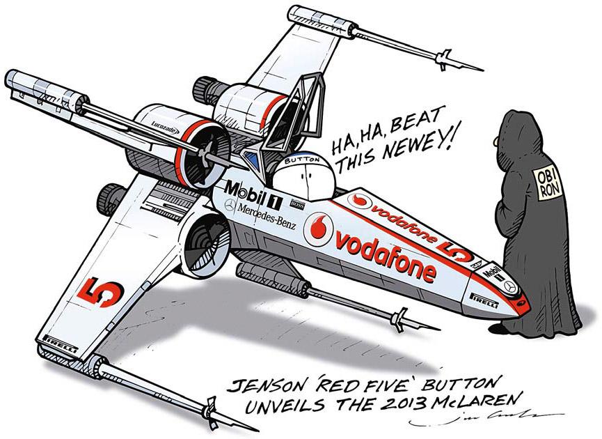 Дженсон Баттон на новом McLaren - комикс Jim Bamber