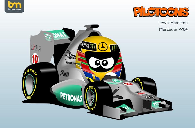 Льюис Хэмилтон Mercedes W04 pilotoons 2013