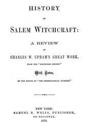 Cover of Harriet Beecher Stowe's Book History of Salem Witchcraft A Review of Charles Upham Great Work