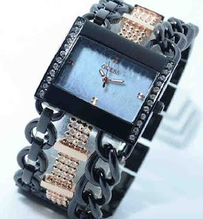 Jam tangan Guess ring diamond rantai kapal black rose gold