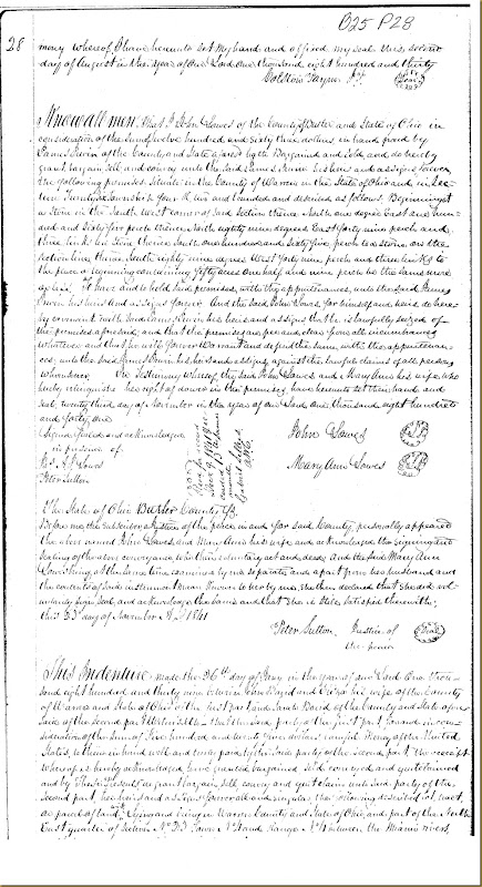 John Lowes,Mary Ann Lowes,Butler Co, OH conveys to James Irwin 1841