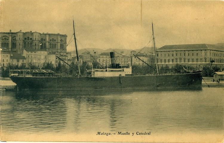Vapor SEVILLA en Malaga. Compañia Sevillana de Navegacion. Postal. Fecha. Ca. 1910.jpg