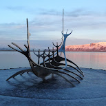 viking ship monument north of Reykjavik in Reykjavik, Hofuoborgarsvaeoi, Iceland