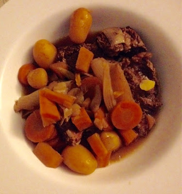 Finished recipe of slow cooked beef and vegetables