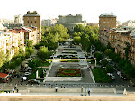 The Spendiarou Opera and park, from the Cascade, Yerevan, Armenia.
