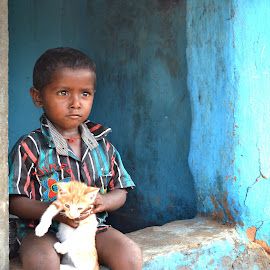 A Village Child with his pet by Rams Ramanathan - Babies & Children Children Candids