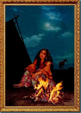 pintura mulher cigana ao pé da fogueira