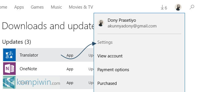 windows store windows 10 settings