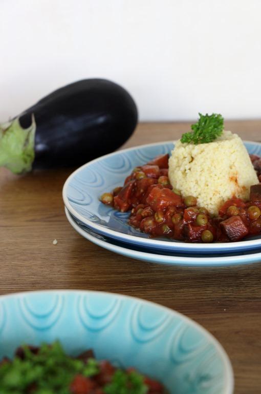 Arabischer Schmortopf, Auberginen Eintopf, Auberginen, Erbseneinopf, Vegan Arabischer Schmortopf