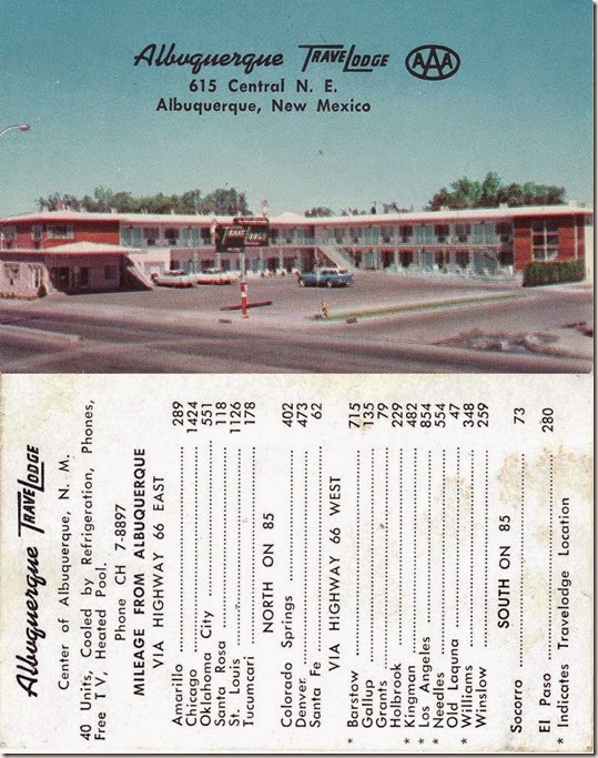 albuquerque travel lodge card