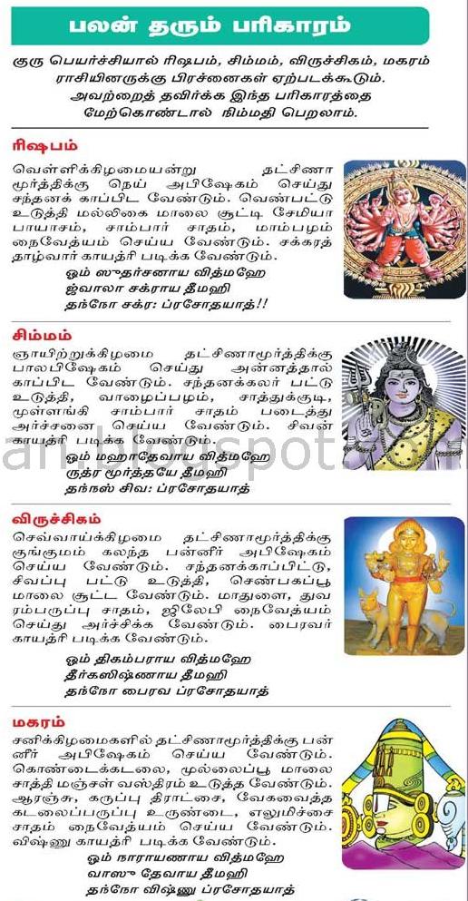 2015 2016 guru peyarchi pariharam for rishabam simmmam vrishikam and maharam raasi palan