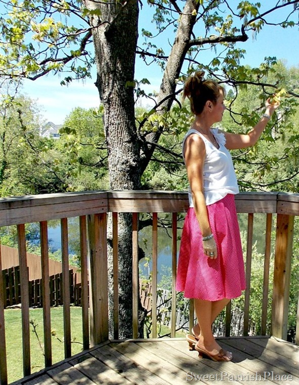 pink polka dotted skirt, white tank, brown sandals2