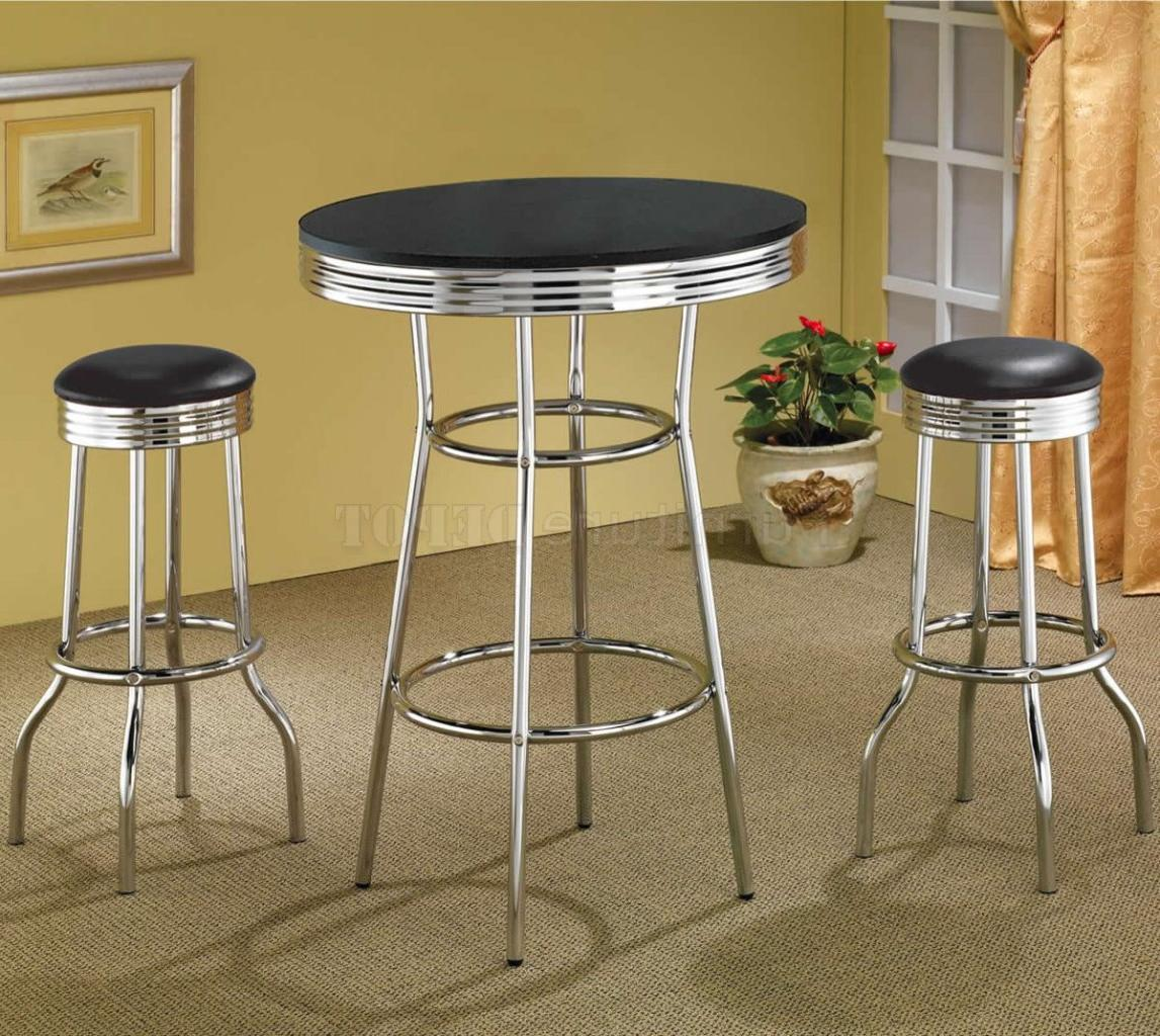 Black Table Top & Chrome Base