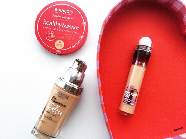 bourjois healthy balance powder, l'oreal true match foundation and maybelline the eraser eye concealer