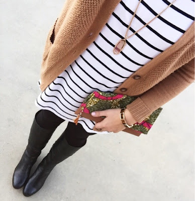 striped tunic, black riding boots, mom style