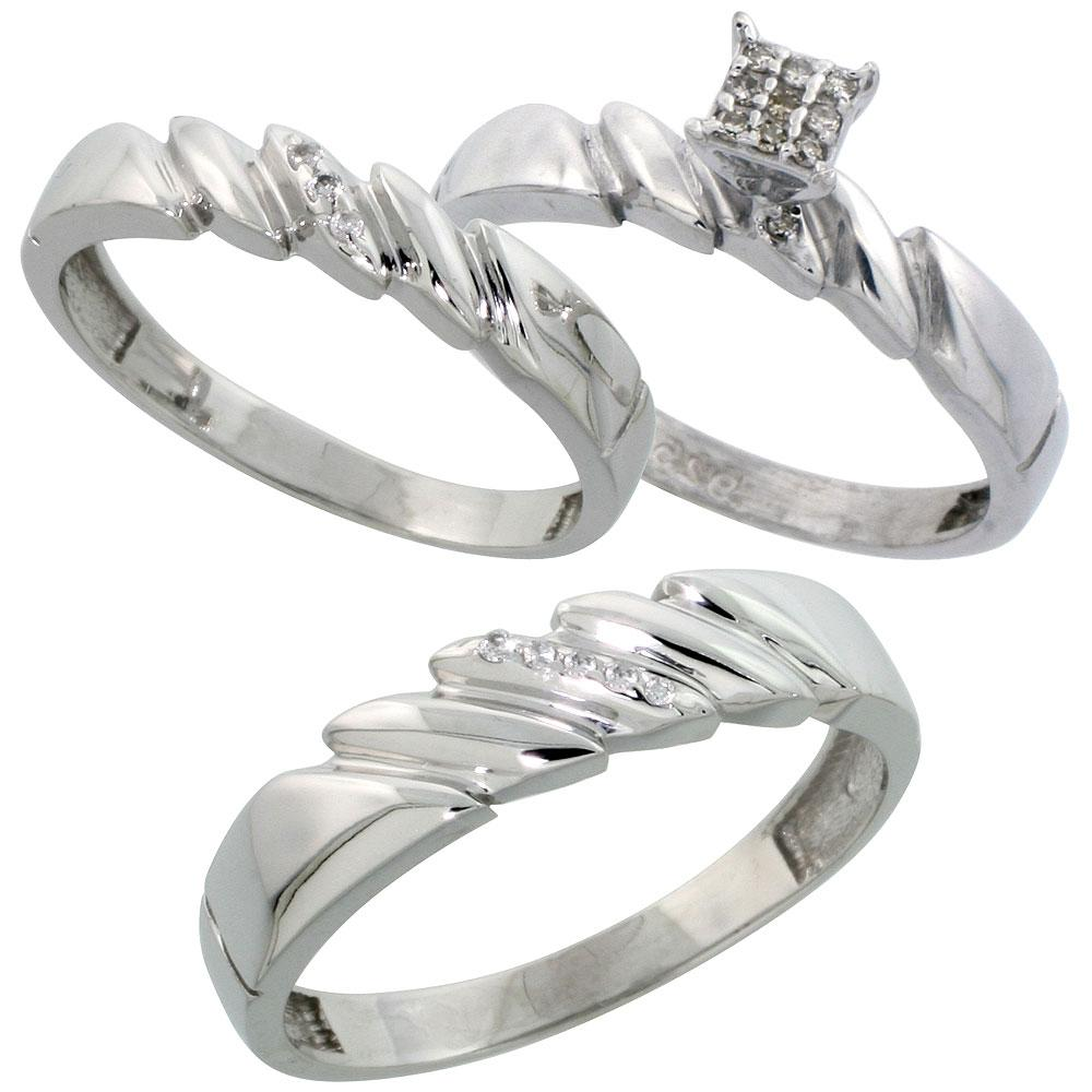 Sterling Silver 3-Piece Trio His  5mm  & Hers  4mm  Diamond Wedding Band Set
