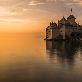 Chateaux Chillon at Sunset by Robin Moon - Buildings & Architecture Public & Historical ( sunset, lake, castle, chateau, medieval )